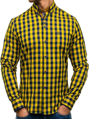 08b2d10aa47 Žlutá pánská kostkovaná košile s dlouhým rukávem Bolf 4701 - Glami.cz