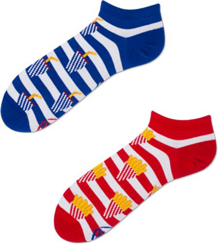 Many Mornings Modro-červené kotníkové ponožky Fries and Soda Low ... f2a2e402ad
