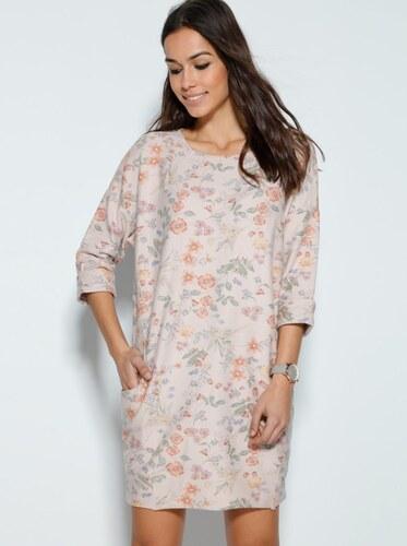 24ff8d7aad19 VENCA Ležérne šaty s potlačou kvetín a vreckami ružová potlač - Glami.sk