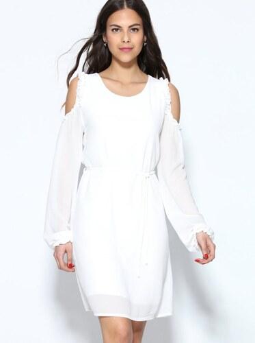 9bf080de0efb VENCA Krátke šaty s dlhými rukávmi a odhalenými ramenami biela ...