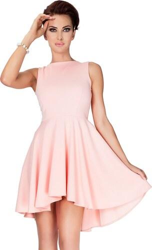 56bbb9089ca Numoco Dámské šaty s asymetrickou zadní částí - meruňkové Barva  meruňková