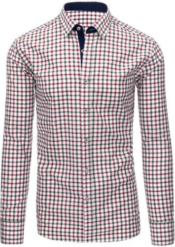 -9% Manstyle Bílá pánská košile mřížkovaný vzor s dlouhým rukávem slim fit dc13c8c0bb