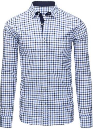 476076233a0 Pánská košile mřížkovaný vzor - odstín bílé a modré - Glami.cz