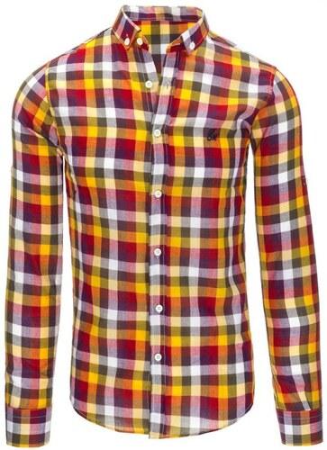 3cc7c37e0a7 -15% Manstyle Pánská oranžová košile mřížkovaný vzor s dlouhým rukávem
