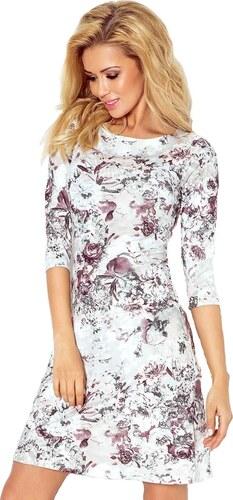 6fe46601001 Dámské šaty s 3 4 rukávy květované Numoco - bílo-fialové Barva  vícebarevná