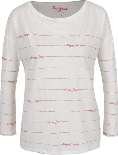b7dba8c61a1d Biele dámske tričko s červenou potlačou Pepe Jeans Uma - Glami.sk