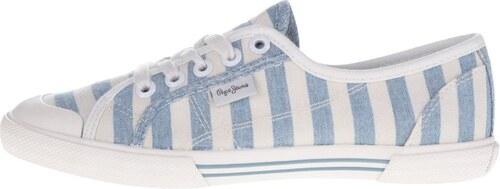 Krémovo-modré dámske pruhované tenisky Pepe Jeans Abernew - Glami.sk 3b6182ada04