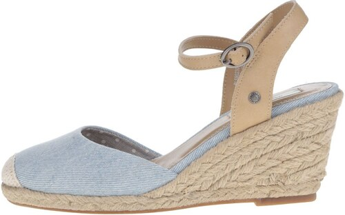 58f2327a39 Svetlomodré dámske rifľové sandále na klinovom podpätku Pepe Jeans Kinney