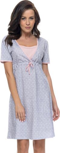 34b39ed65cc5 DN Nightwear Bavlnená tehotenská a dojčiaca nočná košeľa Frances sa  srdiečkami