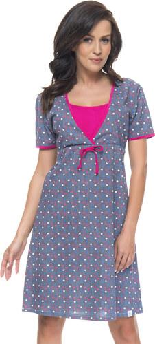 cbba72775e51 DN Nightwear Bavlnená tehotenská a dojčiaca nočná košeľa Marilla s bodky