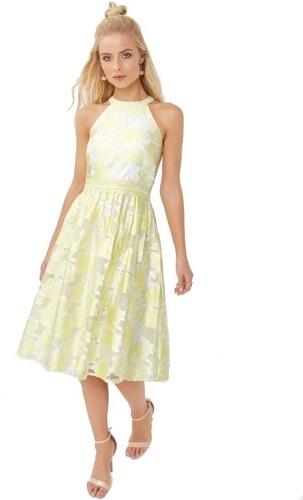 LITTLE MISTRESS Žakárové midi šaty v lemon odtieni - Glami.sk 9a10e90567
