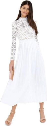 49cfb6a79902 LITTLE MISTRESS Plisované maxi šaty s precizní krajkou - Glami.cz