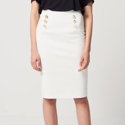 81f0a42b7274 Mohito - Puzdrová sukňa s ozdobnými gombíkmi - Biela - Glami.sk