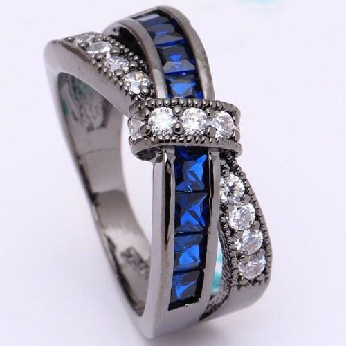 IZMAEL Prsteň Divine-Čierna Modrá 49 d4b951f60de