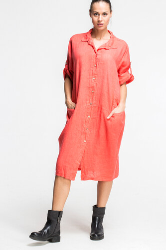 SHOPHYL Dámské lněné jednobarevné šaty Bio Linen Maxi Passenger ... d0b501f70fb