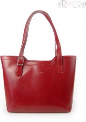 beb4de2a0c6c Červená dámská kožená kabelka VERA PELLE V19R VERA PELLE V19R - Glami.cz