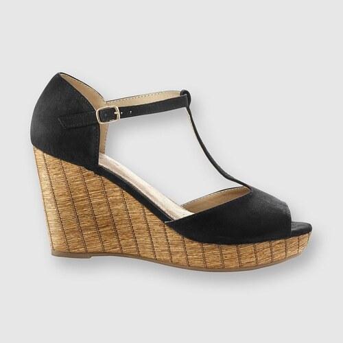 Blancheporte Páskové boty na klínovém podpatku černá - Glami.cz 095cd3f05c