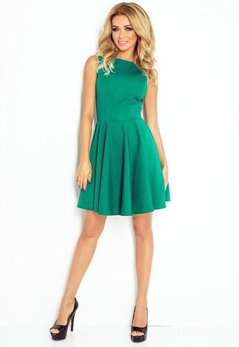 886d5c28f Numoco Krásné zelené šaty s rovným výstřihem a širokou sukní - Glami.cz