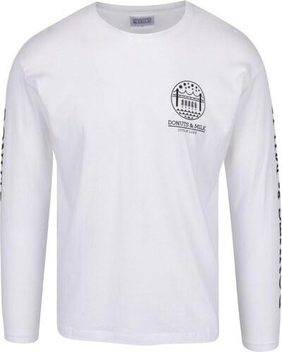 80f8eca73 Biele unisex tričko s dlhým rukávom Donuts & Milk - Glami.sk