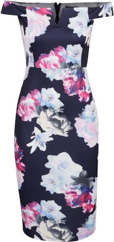 17b3651c855d Tmavomodré puzdrové kvetované šaty s odhalenými ramenami AX Paris ...