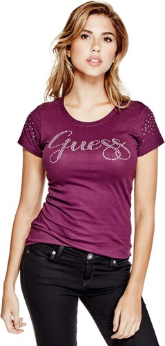 GUESS tričko Livia Logo Tee fialové - Glami.sk 66eed83aeba