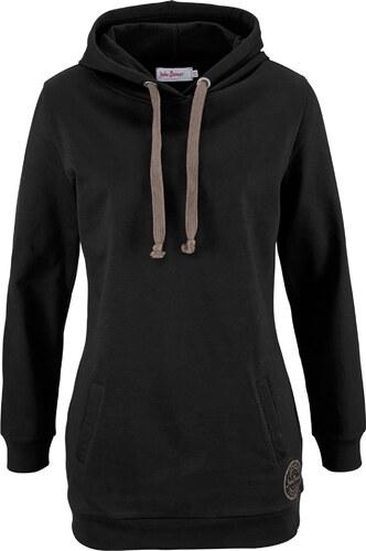 827ef1279cc20 John Baner JEANSWEAR Bonprix - Sweat-shirt long à capuche, manches longues  noir pour femme