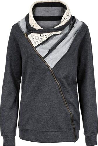 9197d2e4718bf John Baner JEANSWEAR Bonprix - Gilet sweatshirt gris manches longues pour  femme