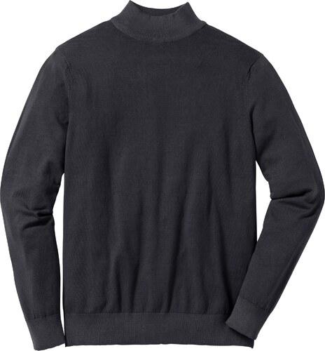 98e3acdf89d2c bpc selection Bonprix - Pull col montant en fine maille Regular Fit noir  manches longues pour homme