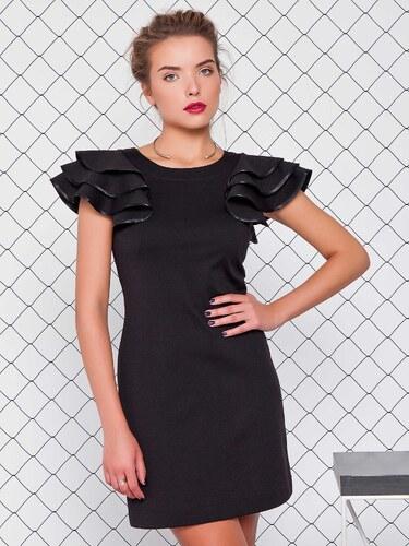 10e0e4e0e7d7 Dámske čierne šaty s volánmi na rukávoch - GR1233 odtiene farieb  čierna