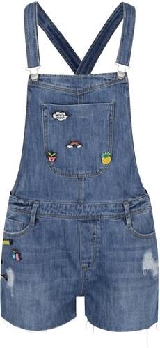 Modré džínové kraťasy s laclem a plastovými odznaky TALLY WEiJL ... 3f1a588503