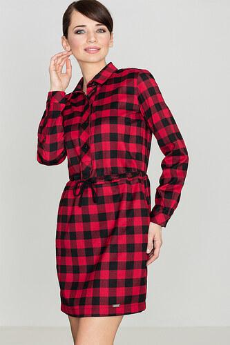Koupit Červené kárované šaty s 3 4 rukávy 49-2 fRtAgVWp 13f086a4647