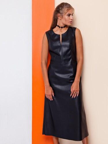 30723b6d1bf5 Dámske dlhé čierne šaty z eko kože - GR1481 odtiene farieb  čierna ...