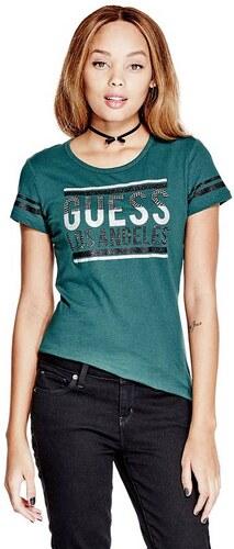 GUESS tričko Peggy Logo Tee tyrkysové acdc4947c24