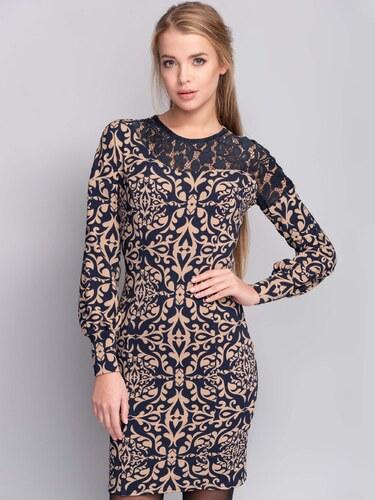 acdf3e1020ae Dámske vzorované béžové šaty s čipkou - ММ1094 odtiene farieb  béžová