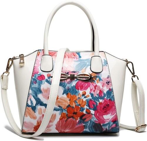Lulu Bags (Anglie) Moderná béžová lakovaná kabelka s kvetmi Miss Lulu a9d419db32c