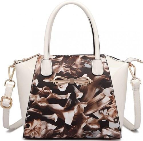 e1b667db5c -15% Lulu Bags (Anglie) Moderná béžová lakovaná kabelka s kávovými kvetmi  Miss Lulu