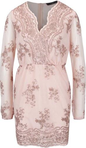 Svetloružové šaty s čipkou a dlhým rukávom AX Paris - Glami.sk 55ed4e53849
