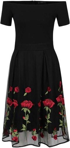 c8a2e5469263 Černé květované šaty s odhalenými rameny AX Paris - Glami.cz