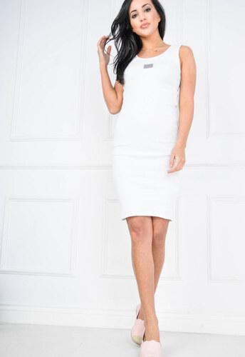 c0c79712862c Dámske biele pletené šaty bez rukávov 3488 odtiene farieb  biela ...