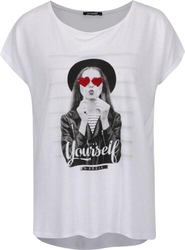 Bílé oversize tričko s potiskem Haily´s Yourself - Glami.cz 1f8bf88e33