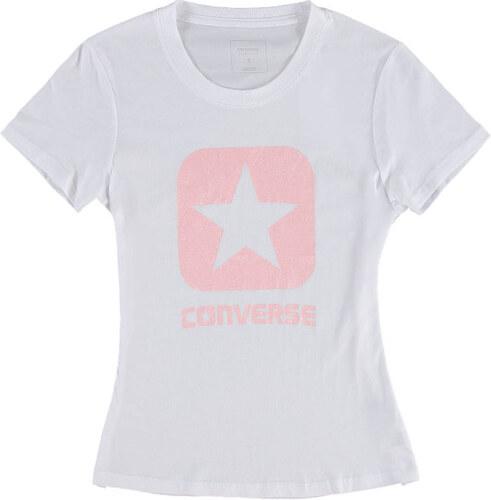 291d354ca2b Dámske biele tričko Converse Metallic Boxstar Crew Tee - Glami.sk