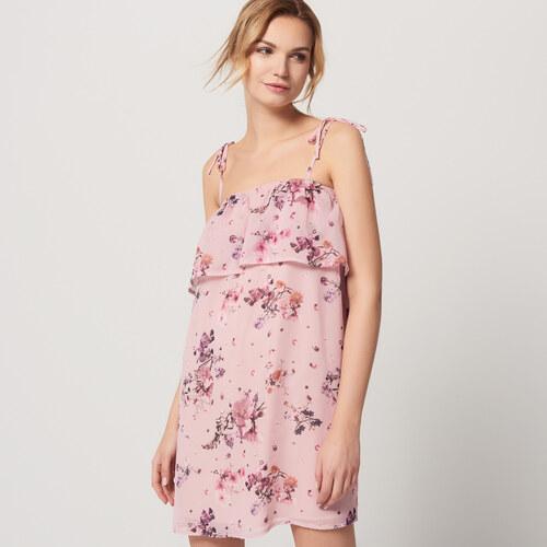 Mohito - Šifónové šaty s volánem - Růžová - Glami.cz bde57e95438