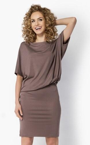 Makadamia Dámské šaty ve volném provedení značkové MA017 netopýří střih  vhodné i jako těhotenské cappuccino 15b58b6ea2