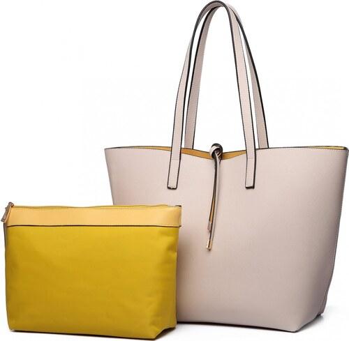 Miss Lulu Obojstranná kabelka na rameno s kozmetickou taštičkou - béžovo -žltá 1b3063ccafb