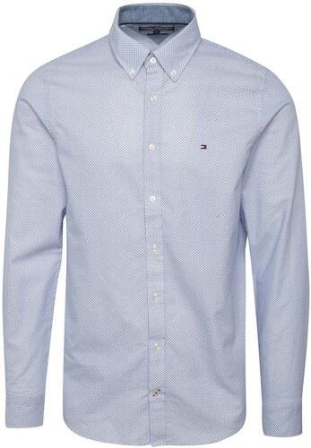 3b21cfdefe Bielo-modrá pánska vzorkovaná slim fit košeľa Tommy Hilfiger - Glami.sk
