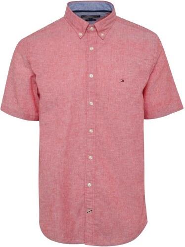 Červená žíhaná pánska košeľa s prímesou ľanu Tommy Hilfiger - Glami.sk 137b12e8518