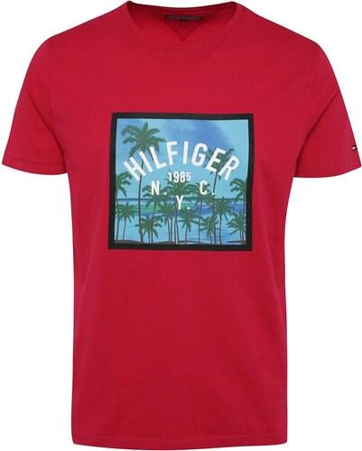 Tmavoružové pánske tričko s potlačou Tommy Hilfiger - Glami.sk 9e5e9409aa