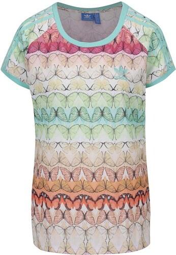 Krémové vzorované dámske tričko adidas Originals - Glami.sk fab817befd7