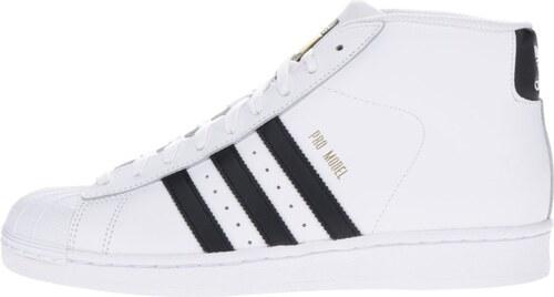 Biele pánske kožené členkové tenisky adidas Originals Pro Model Vintage cf640477ac9