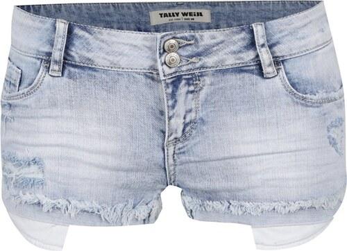 Světle modré džínové kraťasy s nízkým pasem a potrhaným efektem TALLY WEiJL a1d4839576